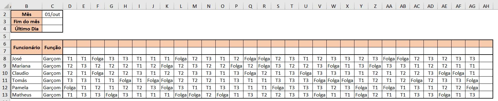 Tabela inicial - Escala de Trabalho