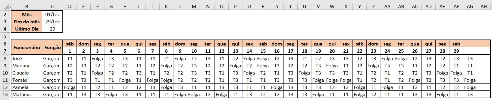 Resultado da formatação personalizada - Escala de Trabalho