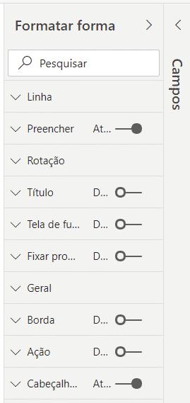 Opções de formatação da forma