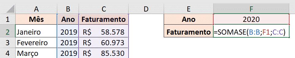 Fórmula SOMASE preenchida - Fórmulas Essenciais do Excel