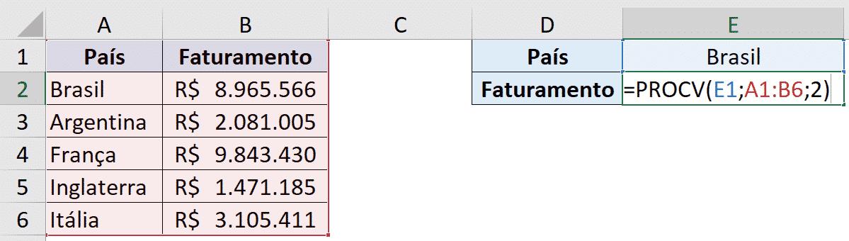 Fórmula PROCV preenchida
