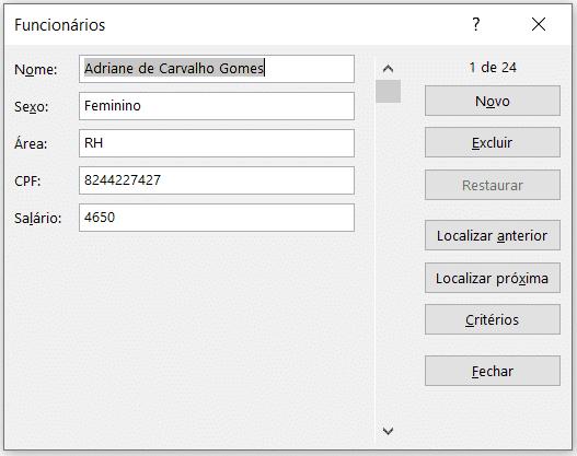 Janela do formulário - Formulário de Cadastro no Excel