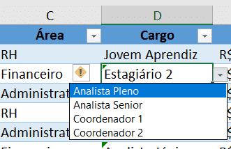 Lista da validação de dados para os cargos