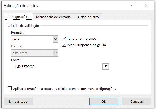 Configuração da validação de dados para os cargos