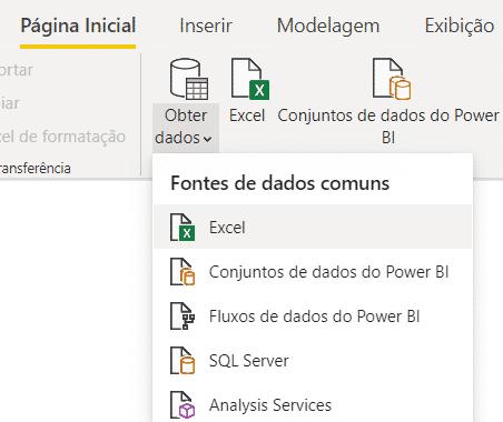 Opção para importação de arquivos do Excel