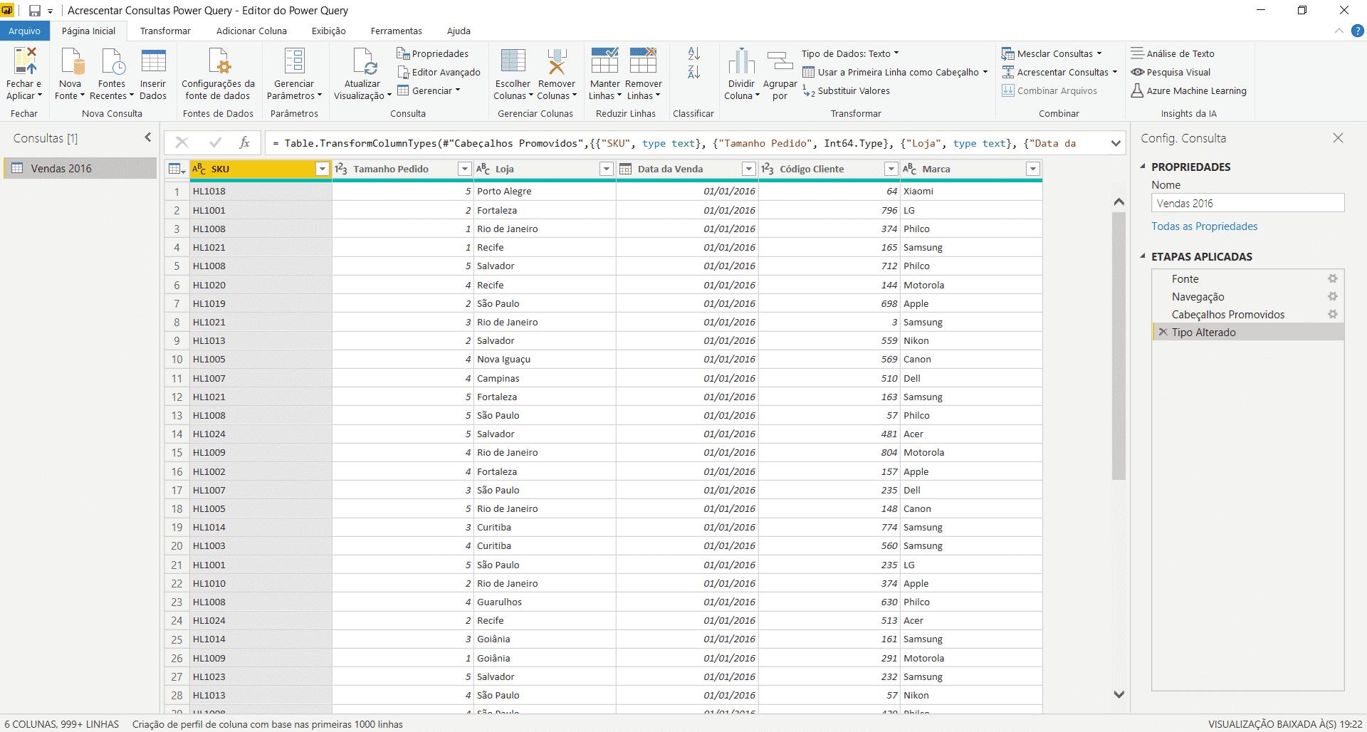 Dados importados dentro do Power Query