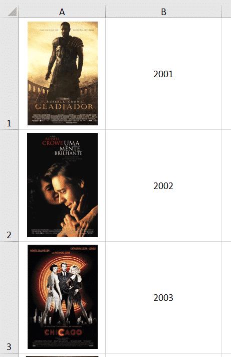 Lista inicial de filmes e anos