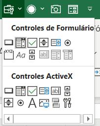 Ferramentas dos controles de formulário