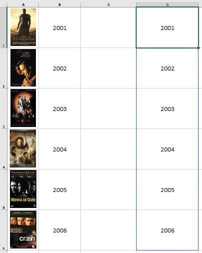 Resultado da fórmula DESLOC atualizada - Lista de Imagens no Excel