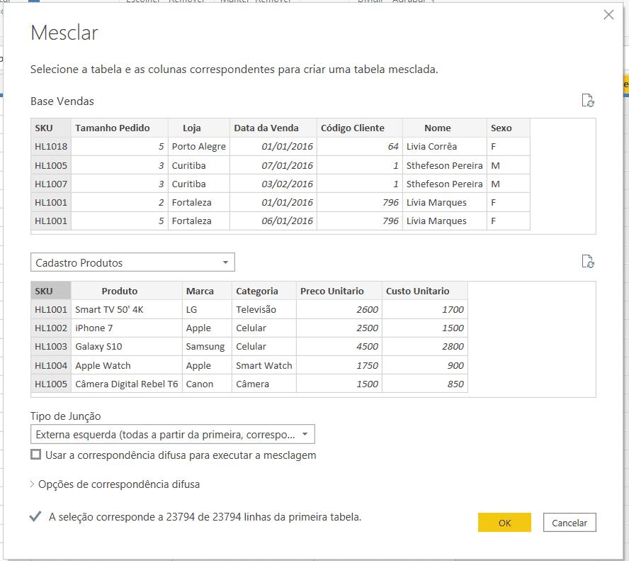 Mesclando informações de outra tabela - Mesclar Consultas no Power BI