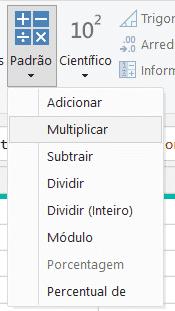 Operação de multiplicação entre colunas