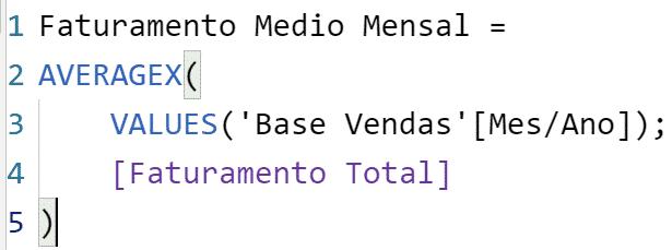 Obtendo o faturamento médio mensal com apenas uma fórmula - Função Values
