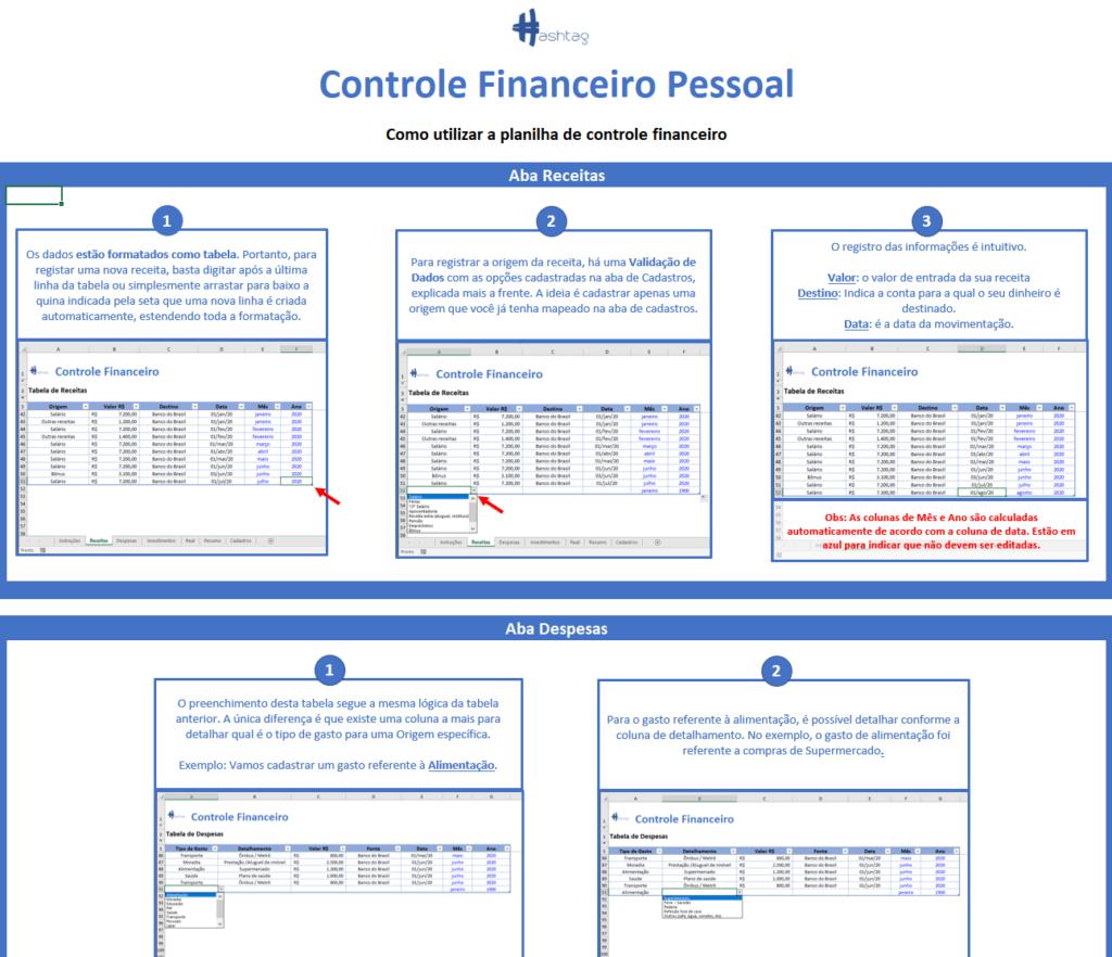 Aba Instruções - Planilha de Controle Financeiro