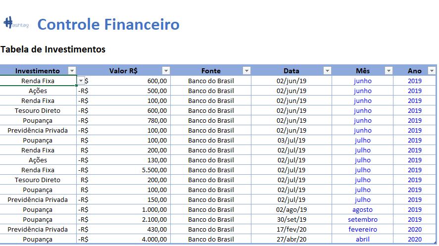 Aba Investimentos - Planilha de Controle Financeiro
