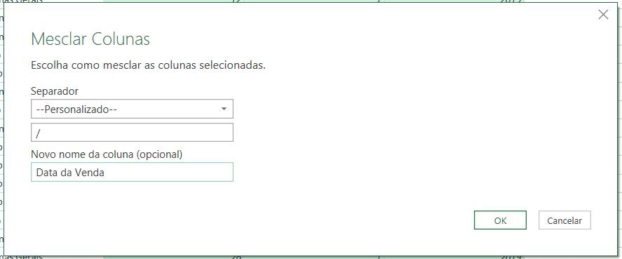 Utilizando a barra para juntar a data