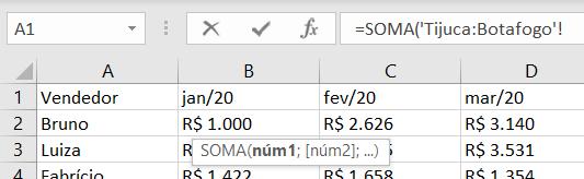 Fórmula com a seleção das duas abas (primeira e última) - Somar no Excel