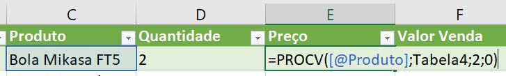 Fórmula para procurar o preço utilizando PROCV