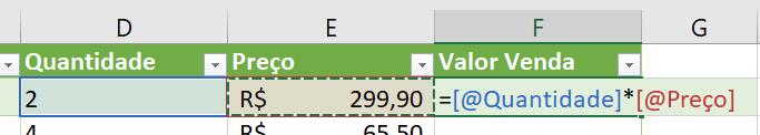 Fórmula para o cálculo do valor da venda