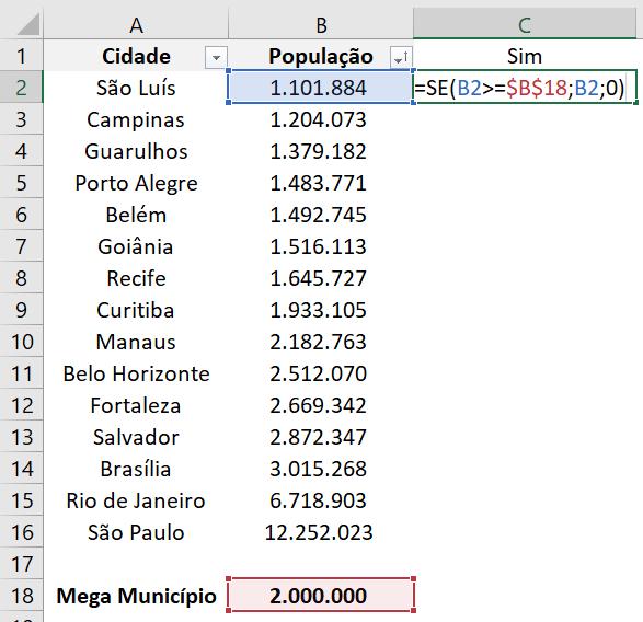 Fórmula para a primeira coluna auxiliar