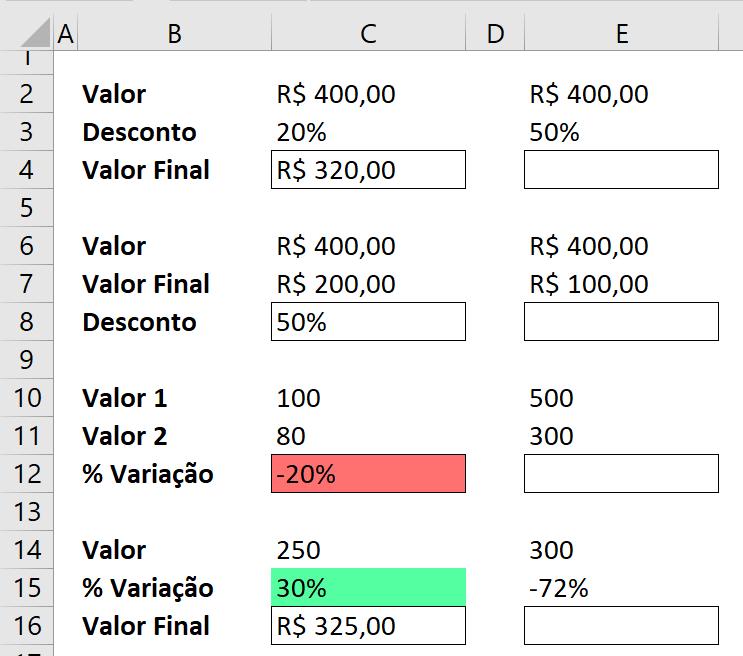 Exemplos de Como Calcular Porcentagem no Excel