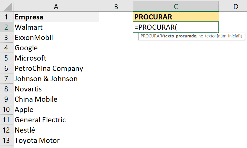 Fórmula PROCURAR