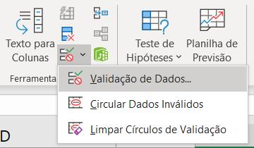 Validação de dados para a Lista automática no Excel