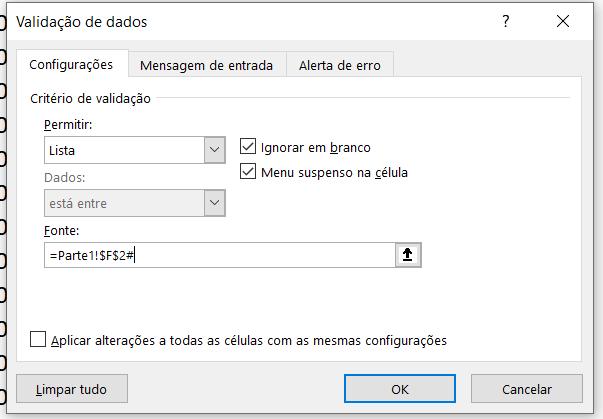 Validação de dados em forma de Lista automática no Excel