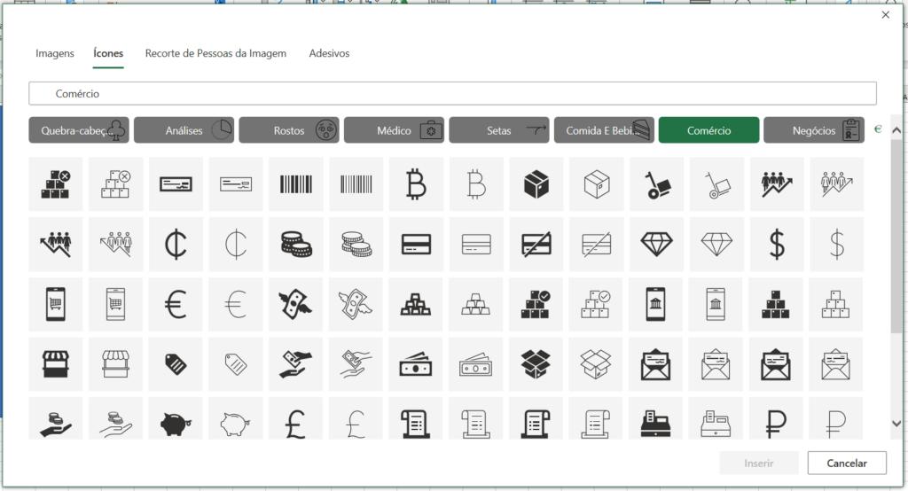 Opções de ícones - Planilha com Cara de Site