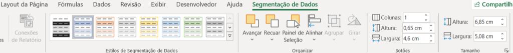 Opções para formatar a segmentação de dados - Planilha em Excel Profissional