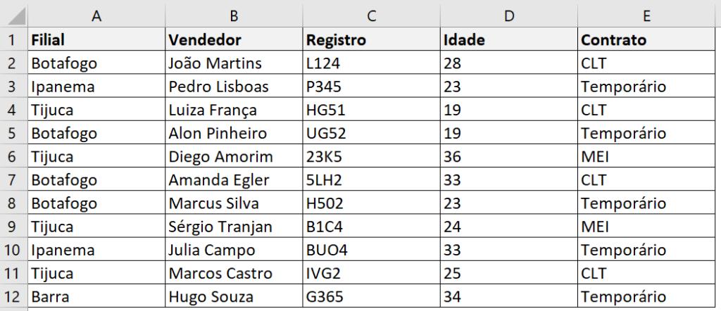 Base de dados para o ÍNDICE e CORRESP no Excel