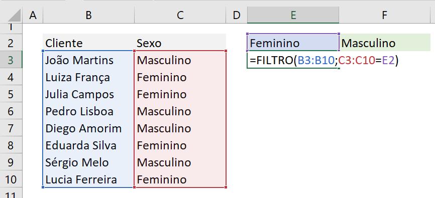 Excel função FILTRO