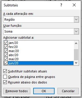 Escolhendo as opções para o Subtotal