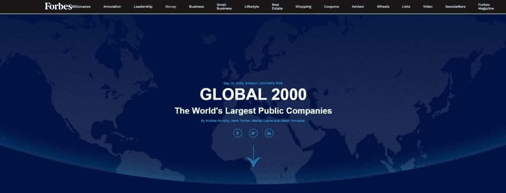 Site da Forbes para obtenção de dados