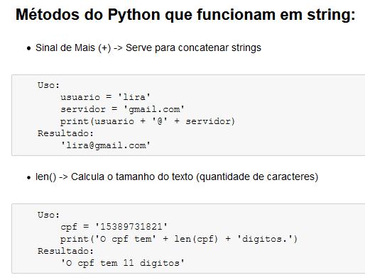 Métodos do Python que funcionam em string