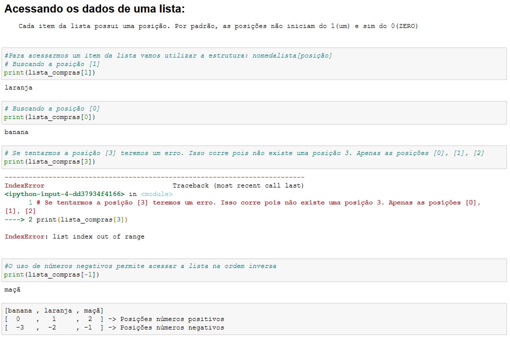 Acessando dados em uma lista