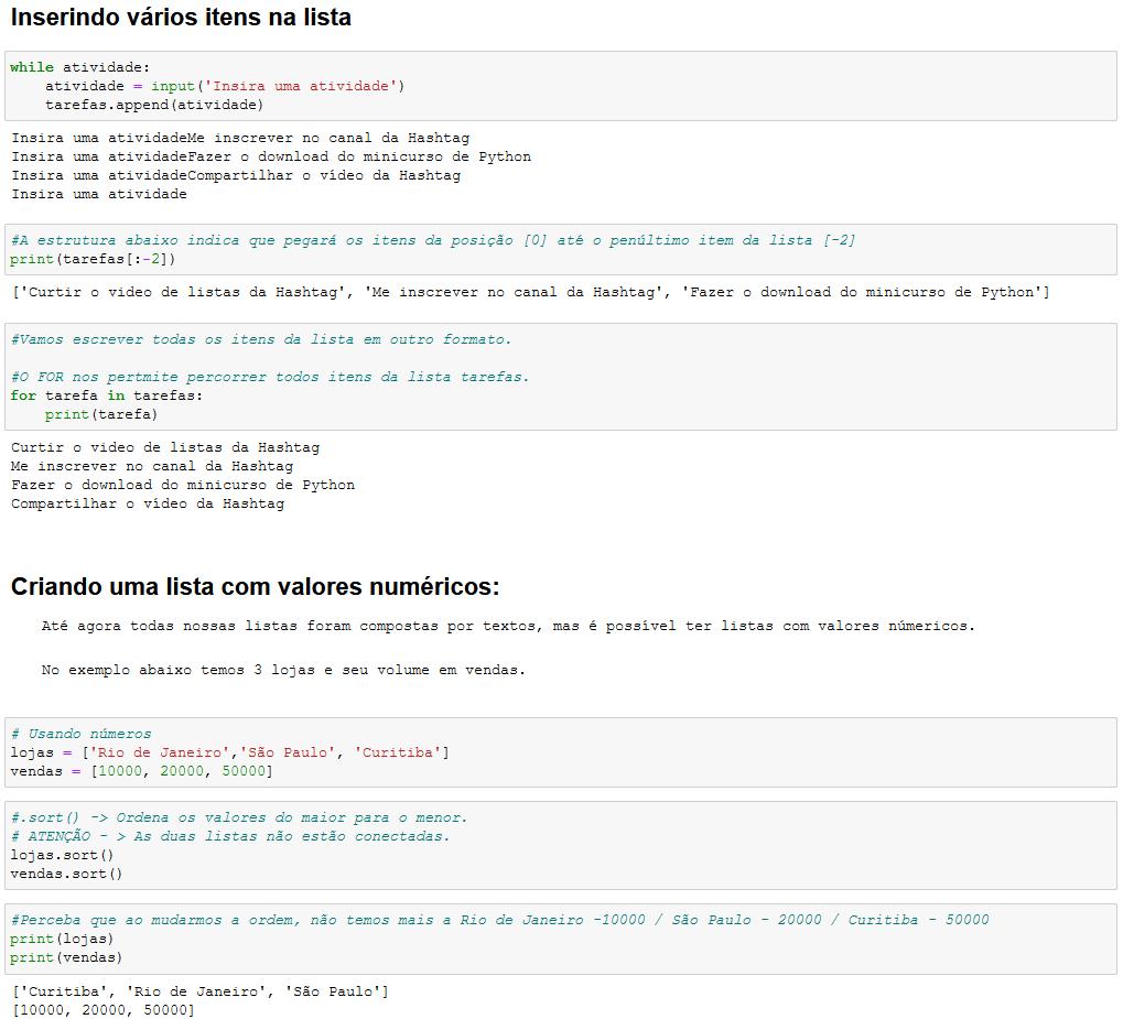Inserindo itens na lista e criando lista com valores numéricos