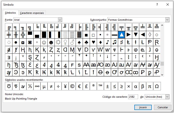 Símbolos no Excel