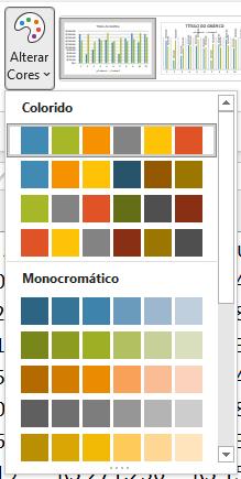 Opção para alterar a paleta de cores do Excel