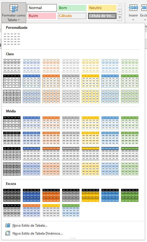 Formatação como tabela