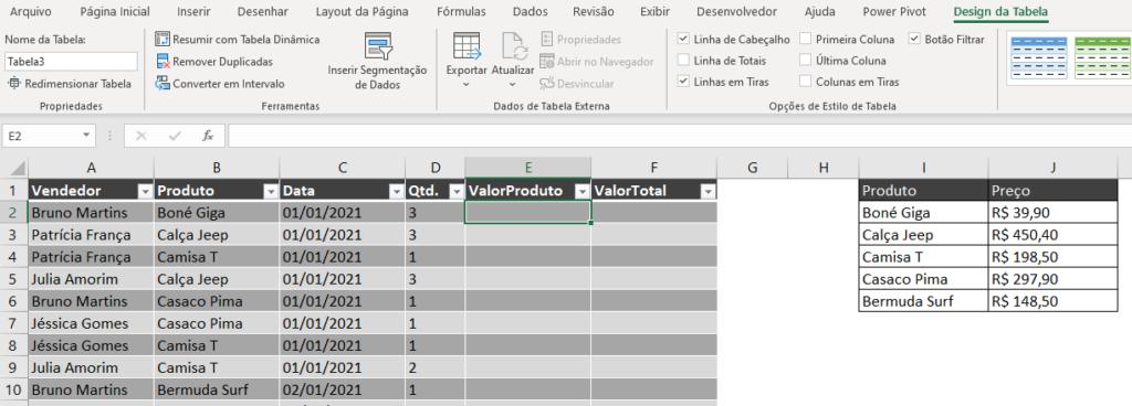 Motivos para Formatar como Tabela