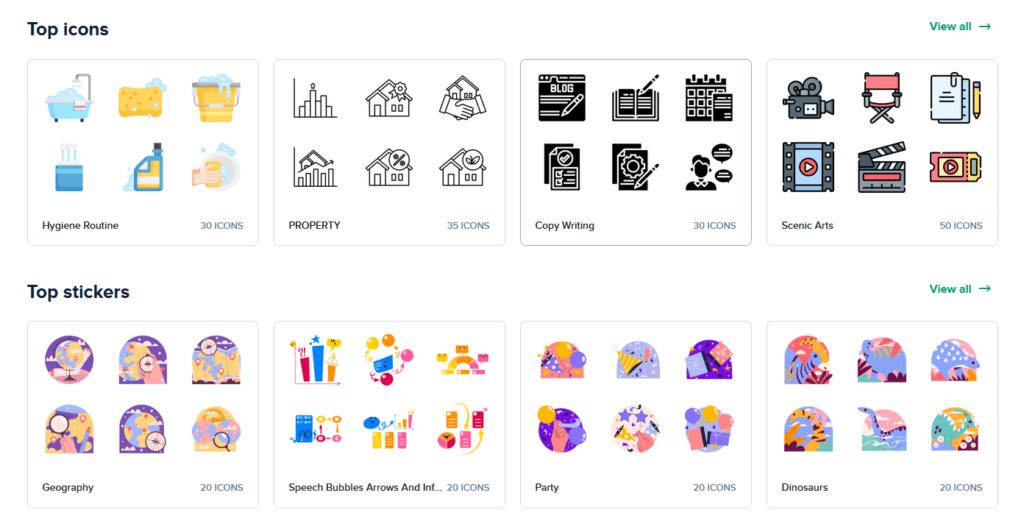 Site para obtenção de ícones para seu dashboard